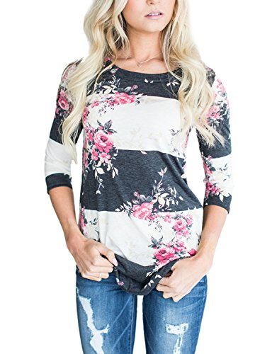 Annflat Women's Round Neck Floral Print Short Sleeve Blouse