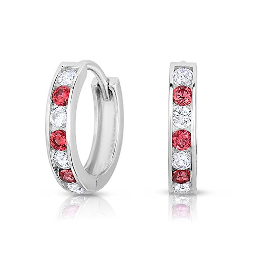 Sterling Silver Huggie Hoop Earring Channel Set with Cubic