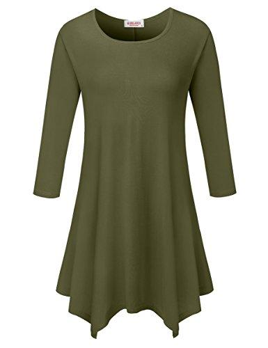 BELAROI Women 3/4 sleeve Swing Tunic Tops Plus size