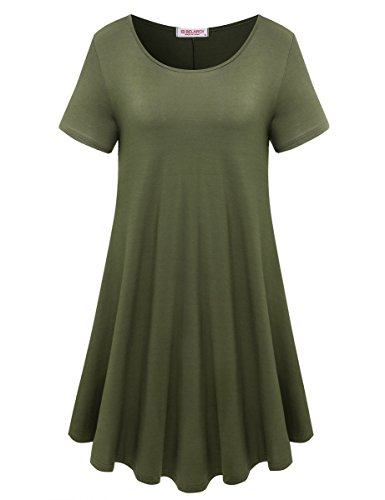 BELAROI Womens Comfy Swing Tunic Short Sleeve Solid T-shirt