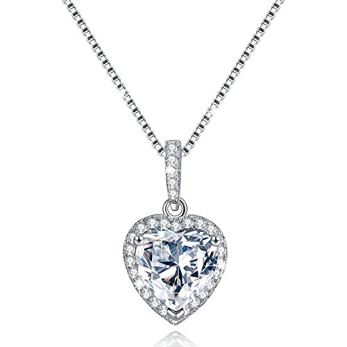 Simulated Diamond Necklace For Women, Love Heart Necklace April
