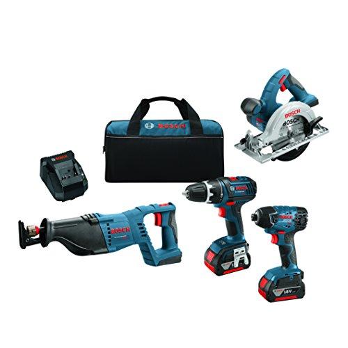 Bosch CLPK420-181 18V 4-Tool Combo Kit, Blue