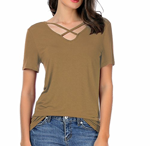 CPOKRTTWSO Women Summer Tops Cross Front Deep V-Neck Short