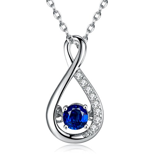 Caperci Sterling Silver Created Blue Sapphire Diamond Accent Infinity