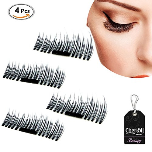 New Magnetic False Eyelashes,1 Pair 4 Pieces 3D Magnetic