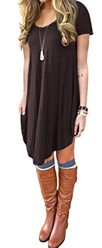 Women\'s Loose V-Neck Short Sleeve Stretch Solid A-Line Tunic