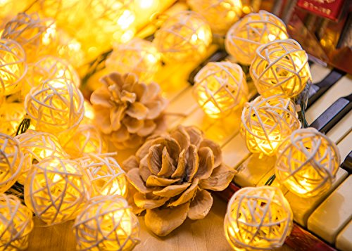 19.7 Feet 30 LEDs String Lights, DecorNova Globe Rattan