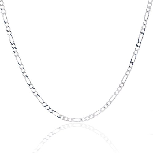 925 Sterling Silver 3MM Figaro Chain - Italian Crafted