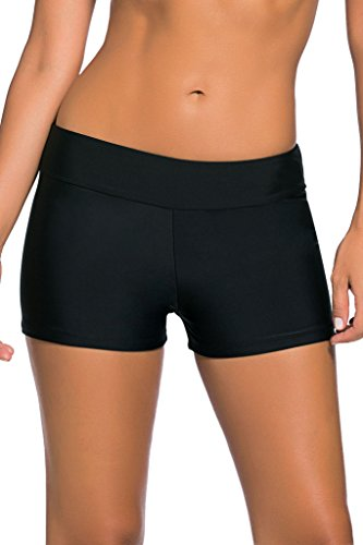 Dokotoo Women's Wide Waistband Swimsuit Bottom Mini Shorts,Black, Size