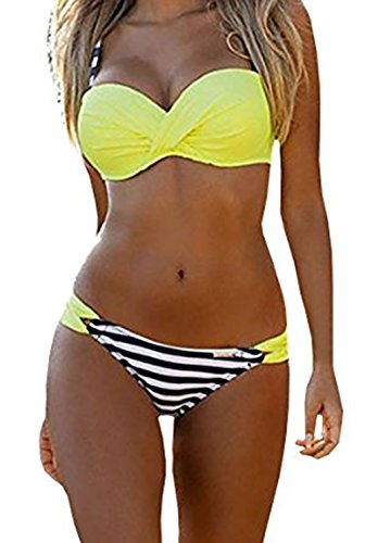 EVALESS Womens Sexy Two Piece Bandeau Bikini Swimsuits Triangle