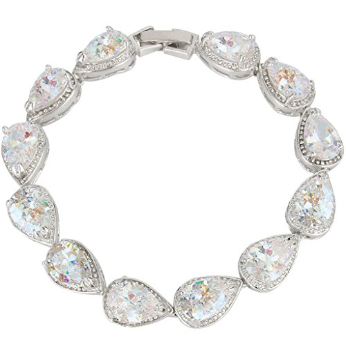 EVER FAITH Prong Zircon Teardrop Wedding Tennis Bracelet Clear