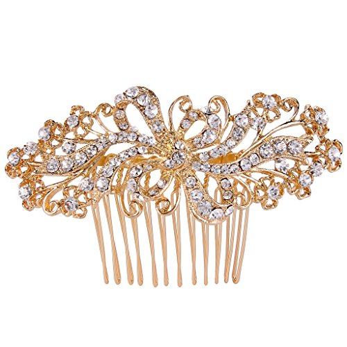 EVER FAITH Gold-Tone Austrian Crystal Graceful Bridal Ribbon Knot