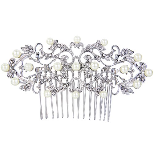 EVER FAITH Wedding Royal Pattern Simulated Pearl Hair Comb