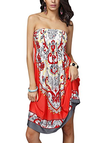 Fancyskin Womens Cover up Bohemia Boho Strapless Floral Print