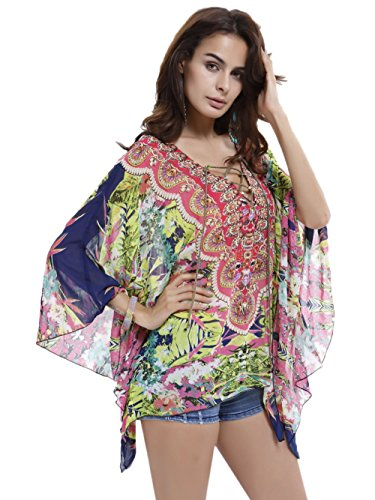 Fancyskin Womens Perspective Cover up Ethnic Print V-Neck Bohemia