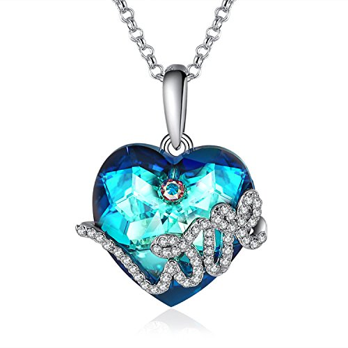 GuqiGuli Silver-Tone Love Heart Blue Swarovski Crystal Pendant Necklace