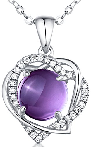 Sterling Silver and Natural Amethyst Gemstone Double Heart Pendant