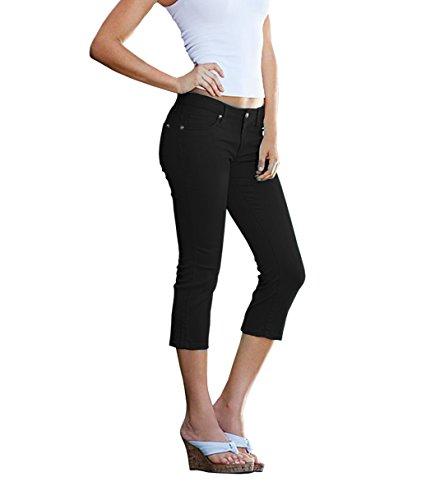 Women\'s Butt Lift Super Comfy Stretch Denim Capri Jeans-Q43300-BLACK-5