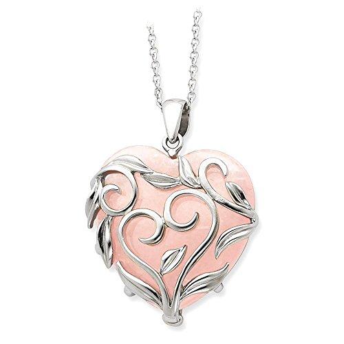 IceCarats 925 Sterling Silver Rose Quartz Generous Heart 18