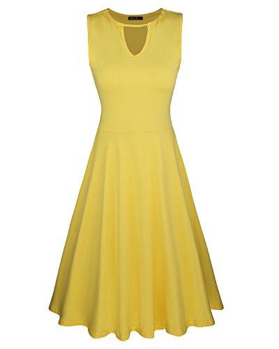 ININ Women's Sleeveless Casual Keyhole Neck Cocktail Party Dress(Yellow,XXL)