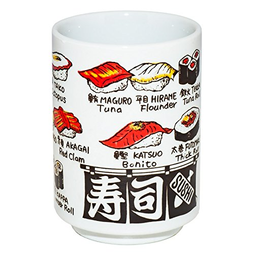 Japanese tea cup, Sushi-yunomi, ceramic, English and Kanj (sushi