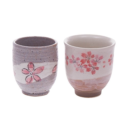 Japanese tea cup set, beautiful cherry blossom flowers designs