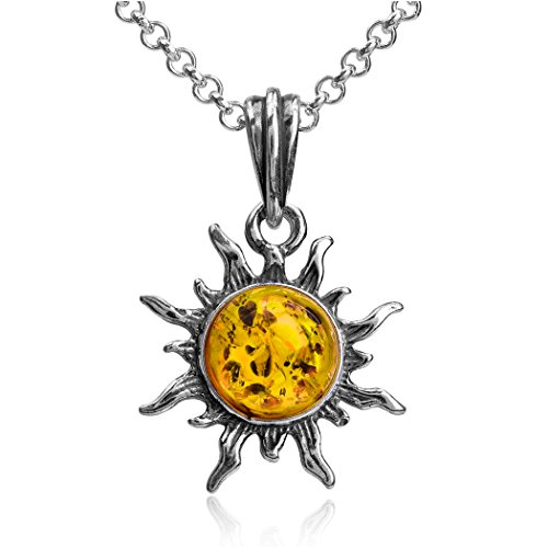 Dark Amber Sterling Silver Small Sun Pendant Necklace Chain