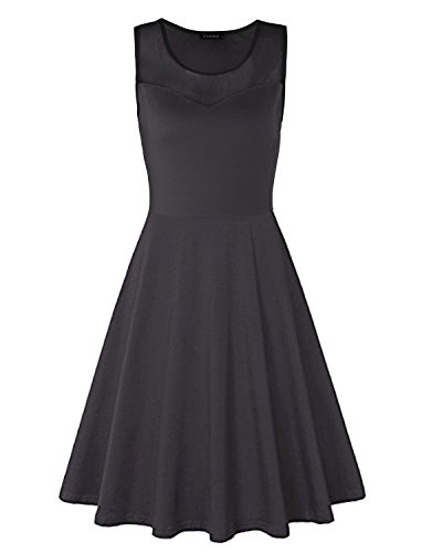 Ineffable Womens Net Patchwork Sleeveless Casual Cotton Dress(Black, S)