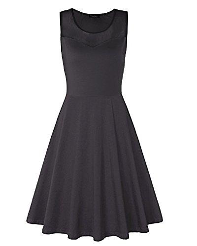 Ineffable Womens Net Patchwork Sleeveless Casual Cotton Dress(Black, S)