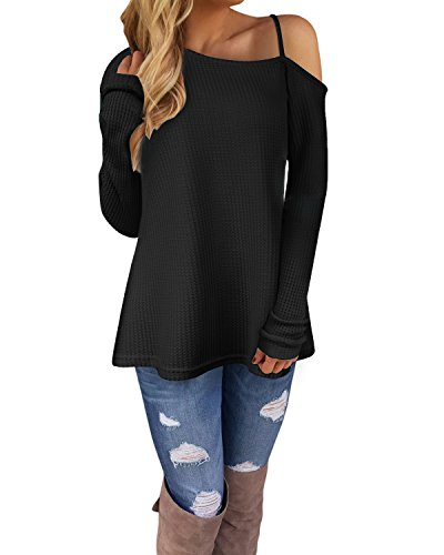 Ineffable Women\'s Long Sleeve Cold Shoulder Knitted Sweater Split