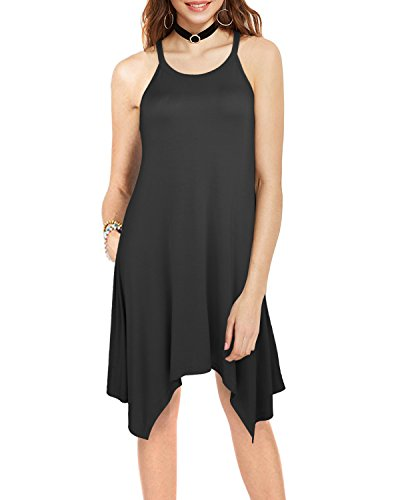 Ineffable Women's Irregular Hem Asymmetrical Summer Sleeveless Dress Pockets