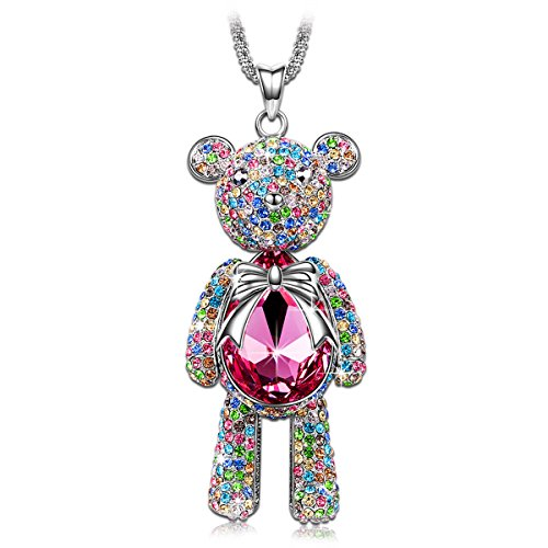 J.NINA Teddy Bear Rose Pink Swarovski Crystals Pendant Necklace