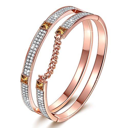 Bangle Bracelet Gift for women J.NINA Rose-gold Plated heavy
