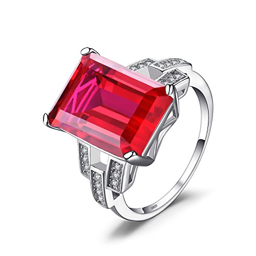 Jewelrypalace Luxury Emerald Cut 9.2ct Created Red Ruby Cocktail