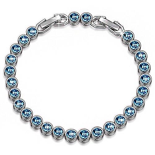 LadyColour Blue Aquamarine Tennis Bracelet Swarovski Crystals Bracelet Jewelry