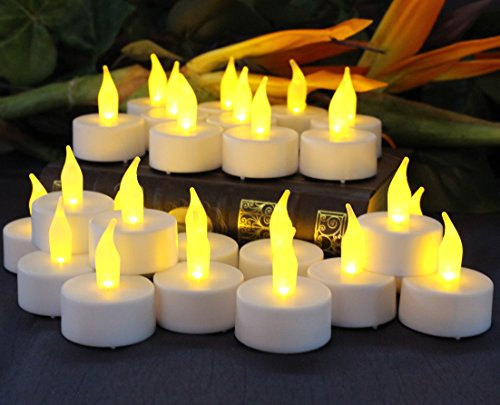 Flameless Tea Light Candles by LED Lytes, 24 Amber