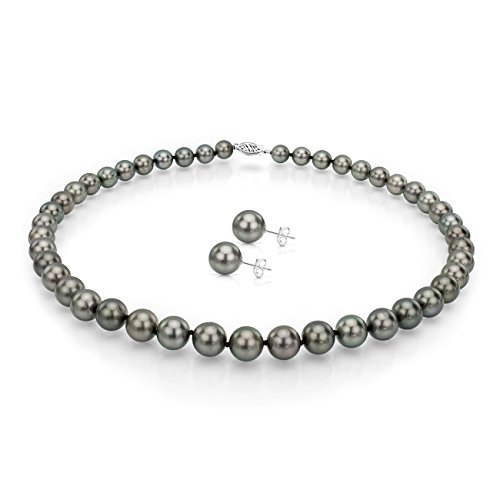 14k White Gold 8.5-11mm Black Round Tahitian Cultured Pearl