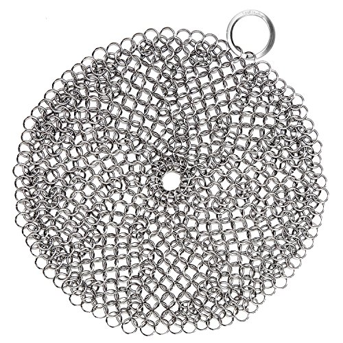 LauKingdom Cast Iron Cleaner, Anti-Rust Stainless Steel Chainmail Scrubber