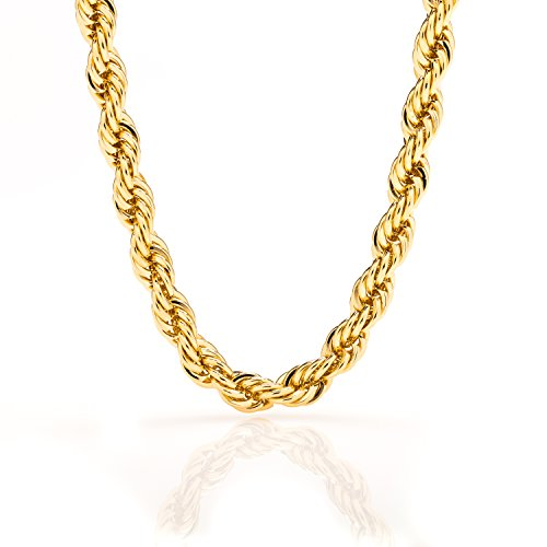 Lifetime Jewelry Rope Chain 7MM, 24K Diamond Cut Fashion