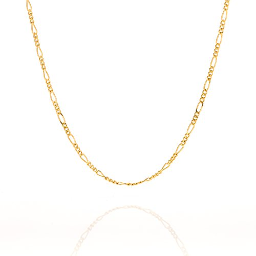 Lifetime Jewelry Figaro Chain 1.5MM, 24K Gold with Inlaid