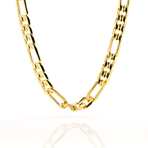 Gold Figaro Chain 7MM Fashion Jewelry Necklaces, 24K Overlay