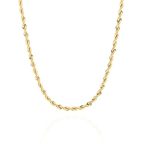 Lifetime Jewelry 3MM Rope Chain, 24K Gold with Inlaid