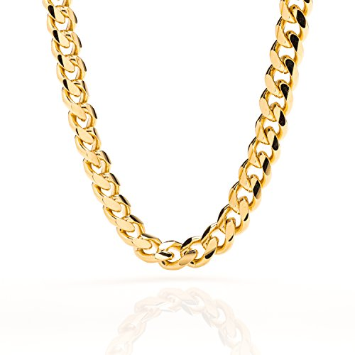 Lifetime Jewelry Cuban Link Chain 9MM, Round, 24K Gold