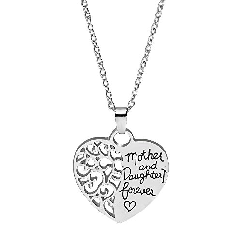 Mother And Daughter Forever - Hollow Heart Pendant Necklace