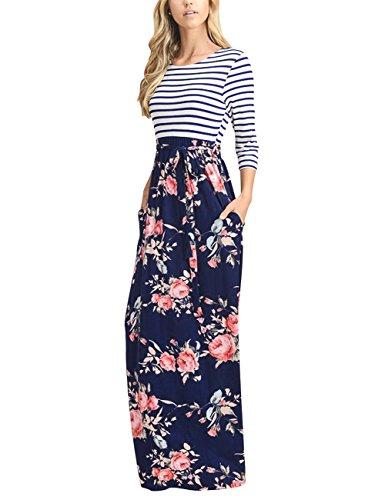 MEROKEETY Women\'s Striped Floral Print 3/4 Sleeve Tie Waist