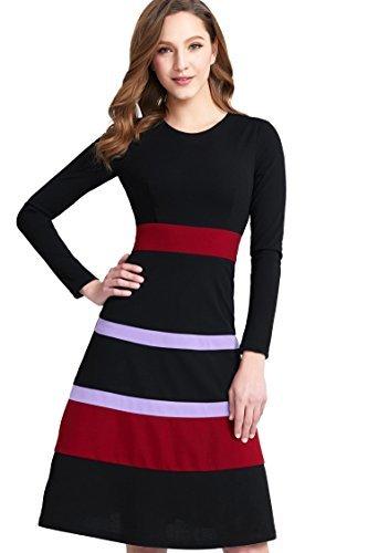 MIEGOFCE Women's A-line Striped Colorblock High Waist Midi Party