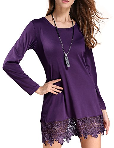 Match Women\'s Long Sleeve Lace Casual Dress(Medium, BBX-8191 Purple)