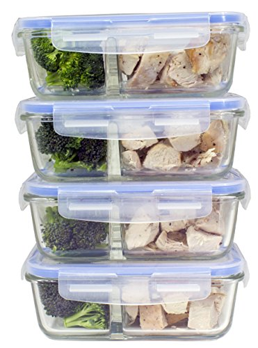 [Premium 4 Pack] 2 Compartment Glass Meal Prep Containers