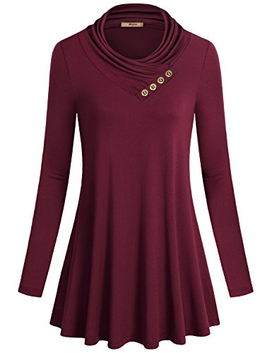 Womens Tunic Shirts,Miusey Long Sleeve Cowl Neck Flared Vintage