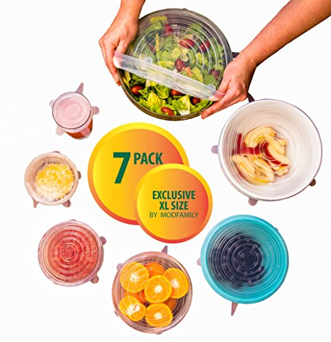Silicone Stretch Lids (7 pack, includes EXCLUSIVE XL SIZE)